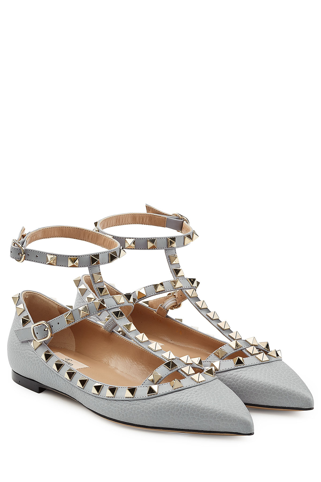 Rockstud Leather Flats Grey - predominant colour: light grey; occasions: casual, creative work; material: leather; heel height: flat; embellishment: studs; ankle detail: ankle strap; toe: pointed toe; style: ballerinas / pumps; finish: plain; pattern: plain; wardrobe: basic; season: a/w 2016