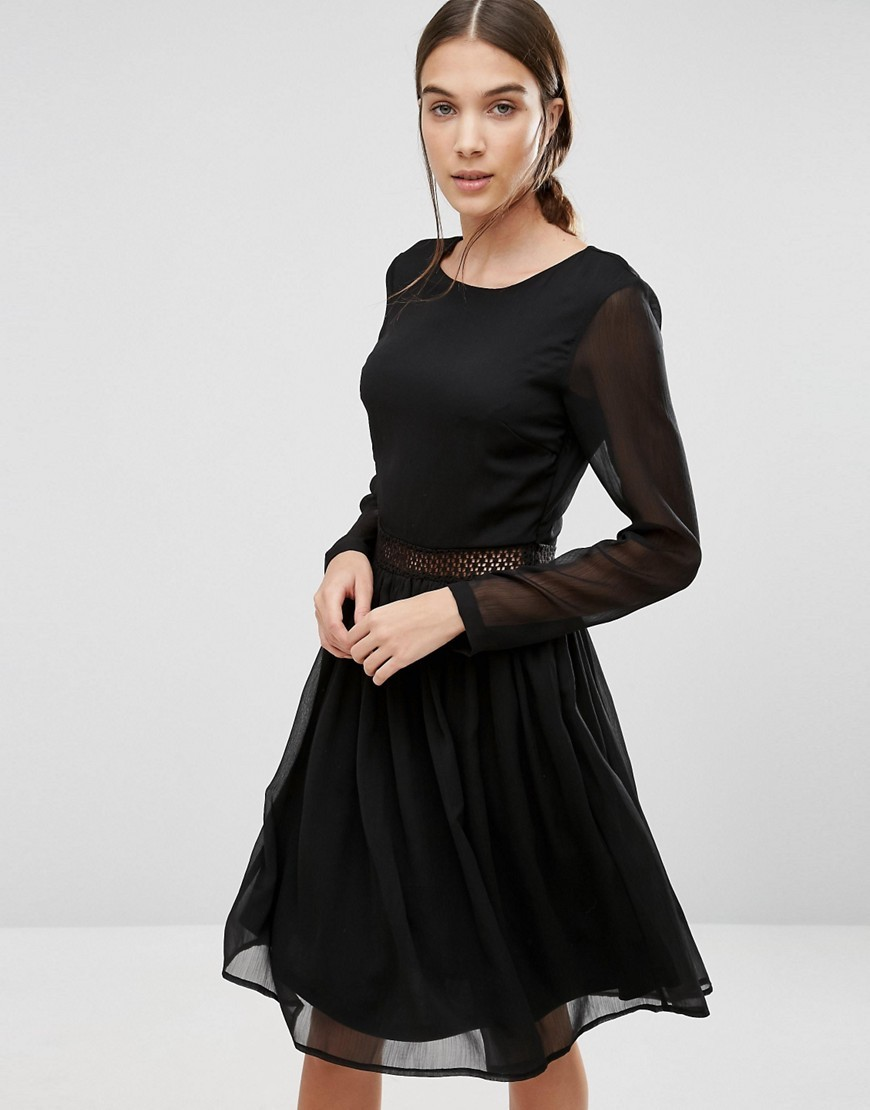 Marissa Long Sleeve Dress With Lace Insert Black - length: below the knee; pattern: plain; predominant colour: black; occasions: evening; fit: fitted at waist & bust; style: fit & flare; fibres: polyester/polyamide - 100%; neckline: crew; sleeve length: long sleeve; sleeve style: standard; texture group: sheer fabrics/chiffon/organza etc.; pattern type: fabric; season: a/w 2016; wardrobe: event