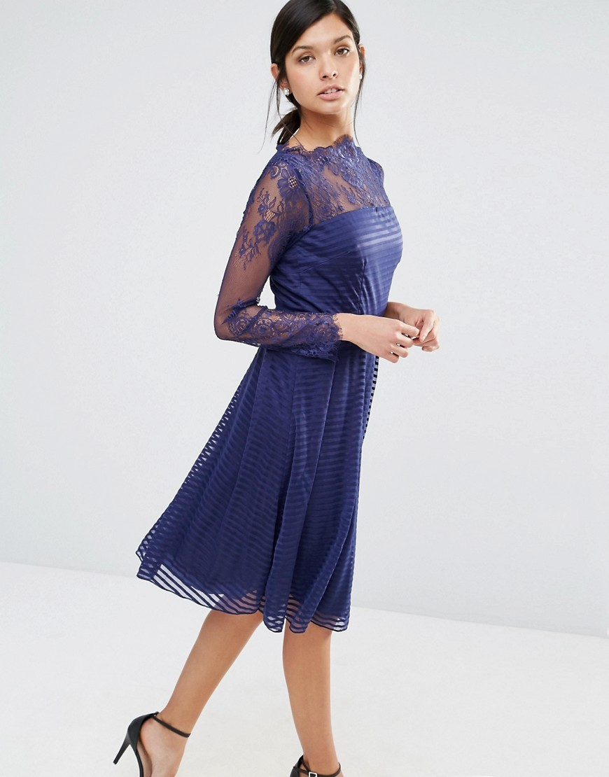 Lace Long Sleeve Skater Dress Navy - length: below the knee; pattern: plain; bust detail: sheer at bust; predominant colour: navy; occasions: evening; fit: fitted at waist & bust; style: fit & flare; fibres: polyester/polyamide - 100%; neckline: crew; sleeve length: long sleeve; sleeve style: standard; pattern type: fabric; texture group: jersey - stretchy/drapey; embellishment: lace; season: a/w 2016; wardrobe: event