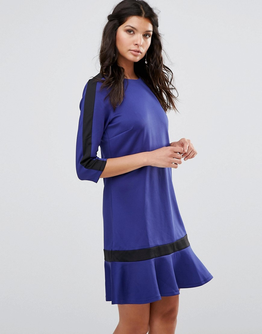 3/4 Sleeve Shift Dress With Ruffle Hem Blue - style: shift; pattern: plain; predominant colour: royal blue; secondary colour: black; occasions: evening; length: just above the knee; fit: body skimming; fibres: polyester/polyamide - stretch; neckline: crew; hip detail: adds bulk at the hips; sleeve length: 3/4 length; sleeve style: standard; pattern type: fabric; texture group: jersey - stretchy/drapey; season: a/w 2016; wardrobe: event
