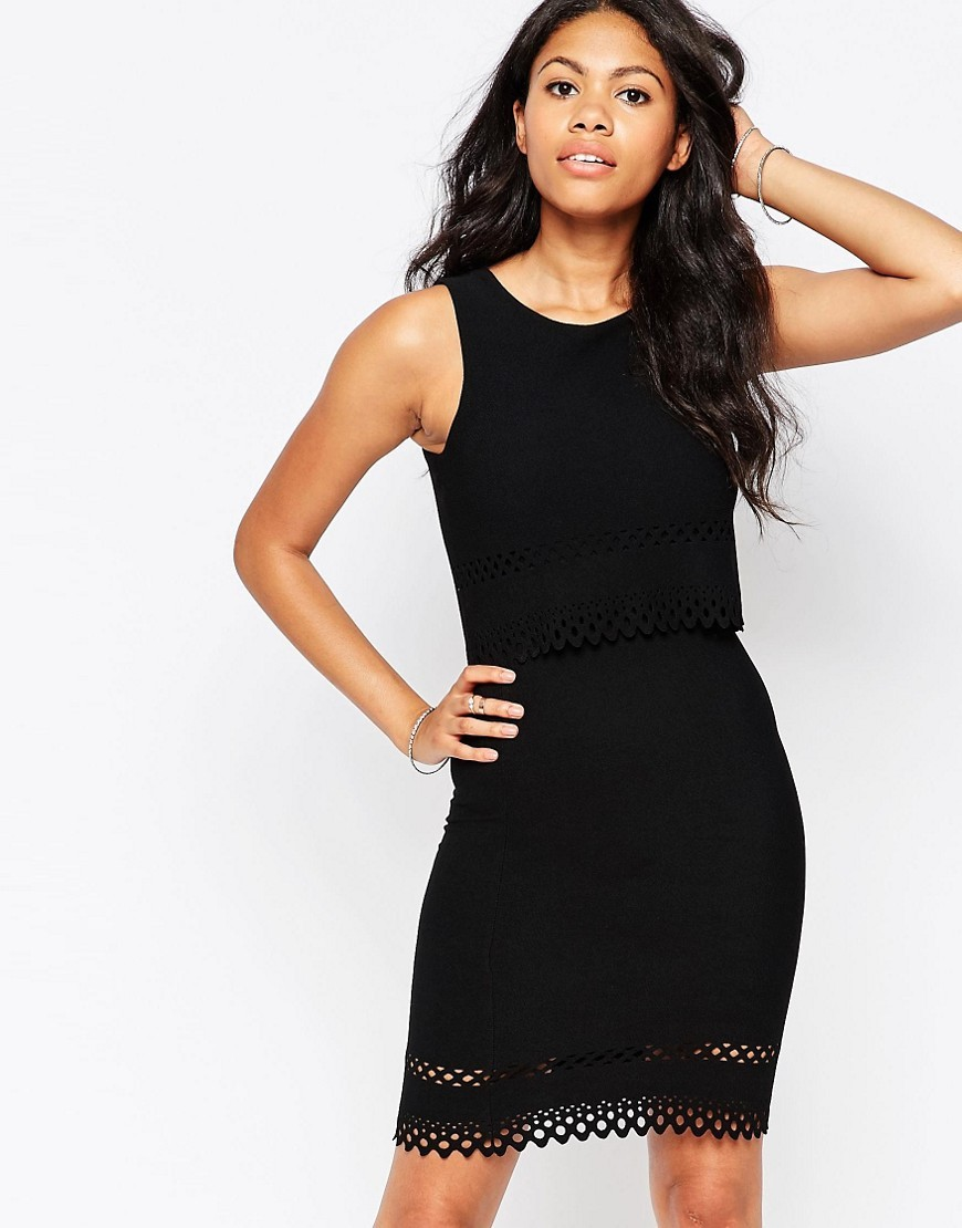 Laser Cut Two Tier Dress Black - fit: tight; pattern: plain; sleeve style: sleeveless; style: bodycon; predominant colour: black; occasions: evening; length: just above the knee; fibres: polyester/polyamide - stretch; neckline: crew; sleeve length: sleeveless; texture group: jersey - clingy; pattern type: fabric; season: a/w 2016; wardrobe: event
