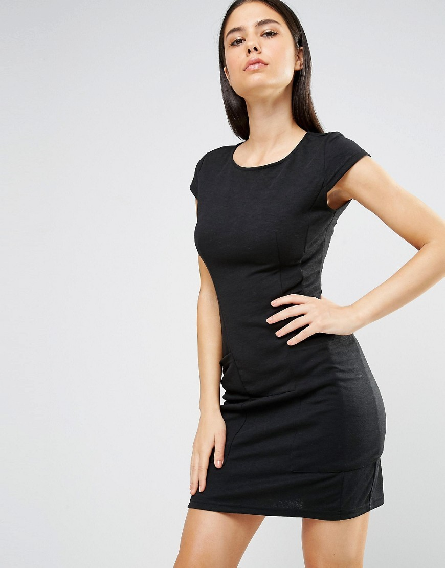 Cap Sleeve Shift Dress With Pockets Black - length: mini; fit: tight; pattern: plain; style: bodycon; hip detail: fitted at hip; predominant colour: black; occasions: evening; fibres: cotton - stretch; neckline: crew; sleeve length: short sleeve; sleeve style: standard; texture group: jersey - clingy; pattern type: fabric; season: a/w 2016