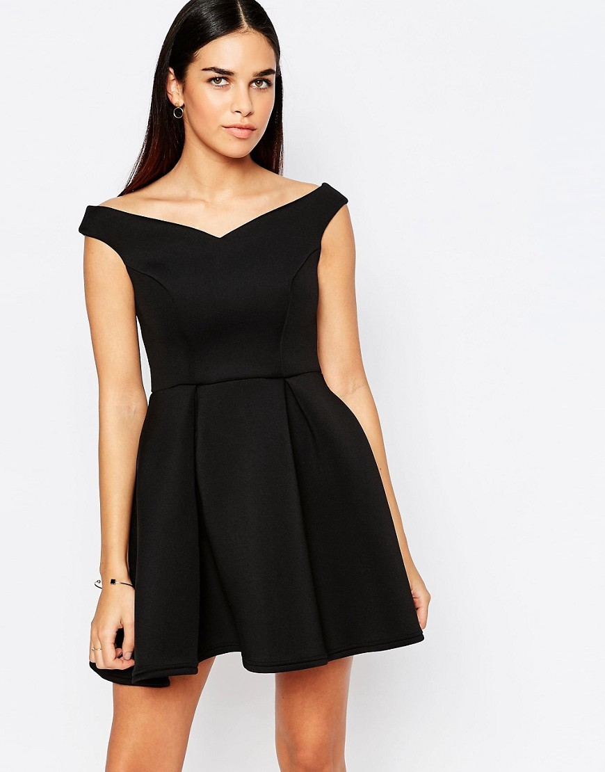 Amelie Off Shoulder Skater Dress With Pleats Black - length: mid thigh; neckline: off the shoulder; sleeve style: capped; pattern: plain; predominant colour: black; occasions: evening; fit: fitted at waist & bust; style: fit & flare; fibres: polyester/polyamide - stretch; sleeve length: sleeveless; pattern type: fabric; texture group: jersey - stretchy/drapey; season: a/w 2016
