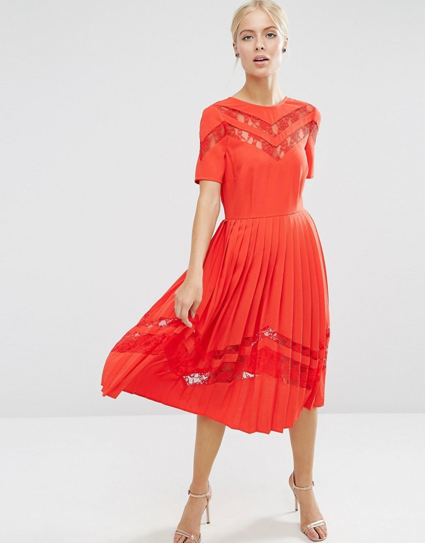 Premium Pleated Midi Dress With Lace Inserts Red - length: calf length; pattern: plain; predominant colour: true red; occasions: evening; fit: fitted at waist & bust; style: fit & flare; fibres: polyester/polyamide - stretch; neckline: crew; hip detail: soft pleats at hip/draping at hip/flared at hip; sleeve length: short sleeve; sleeve style: standard; pattern type: fabric; texture group: jersey - stretchy/drapey; embellishment: lace; season: a/w 2016; wardrobe: event