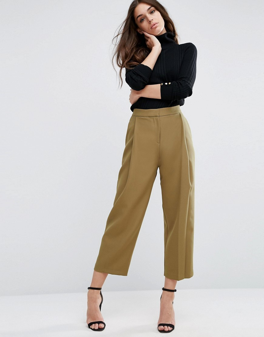 Relaxed Crop Trouser With Pleat Front Olive - pattern: plain; waist: mid/regular rise; predominant colour: khaki; occasions: casual; length: calf length; fibres: polyester/polyamide - stretch; fit: wide leg; pattern type: fabric; texture group: jersey - stretchy/drapey; style: standard; wardrobe: basic; season: a/w 2016
