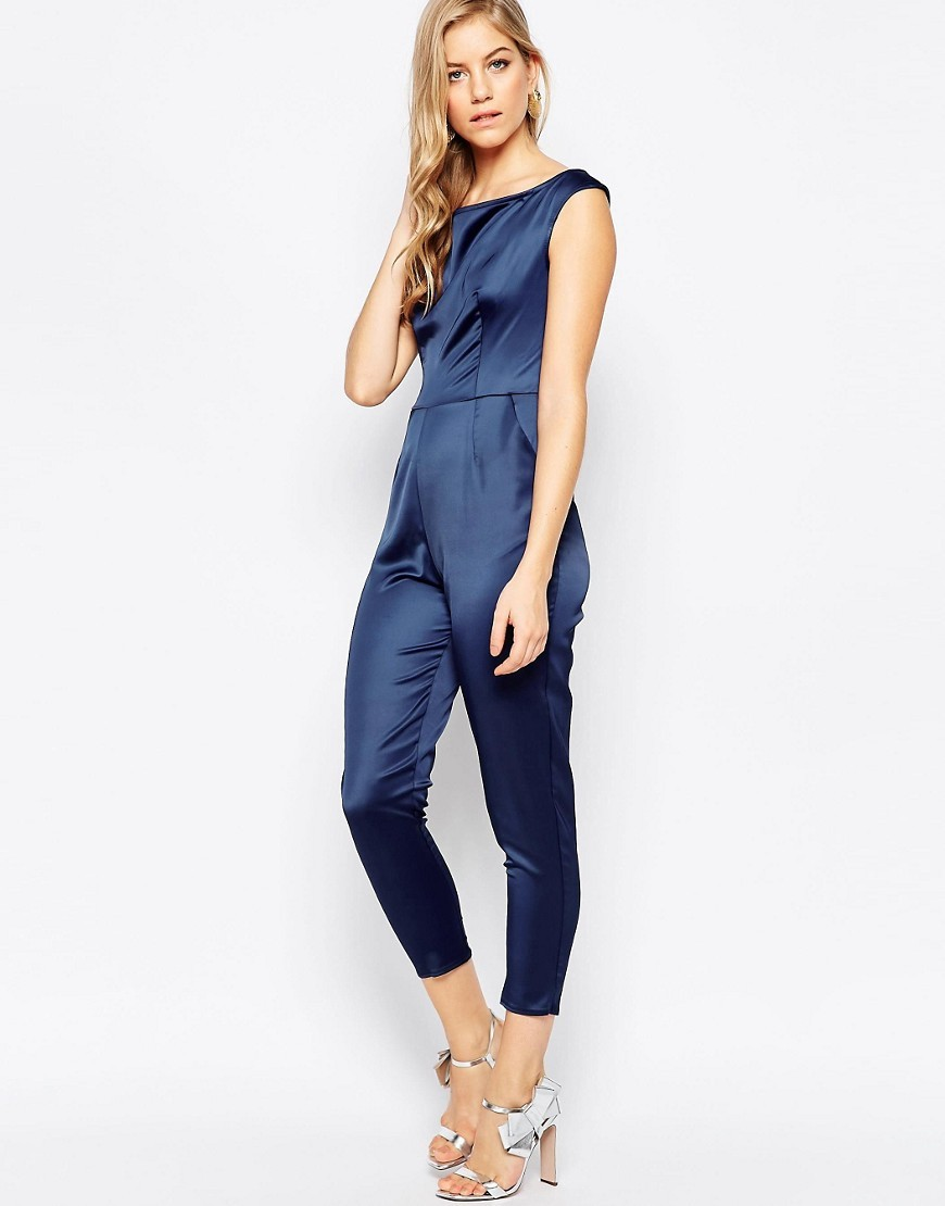 Cold Shoulder Jumpsuit In Satin Navy - neckline: round neck; pattern: plain; sleeve style: sleeveless; predominant colour: navy; occasions: evening; length: calf length; fit: body skimming; fibres: polyester/polyamide - 100%; sleeve length: sleeveless; texture group: structured shiny - satin/tafetta/silk etc.; style: jumpsuit; pattern type: fabric; season: a/w 2016; wardrobe: event