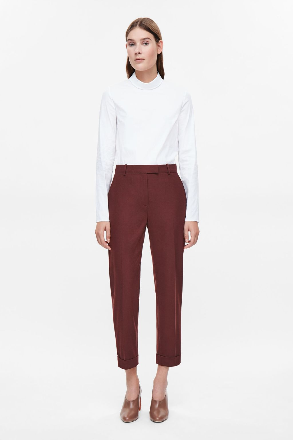 Straight Leg Wool Trousers - pattern: plain; waist: high rise; pocket detail: pockets at the sides; predominant colour: burgundy; occasions: casual, creative work; length: ankle length; fibres: wool - stretch; fit: slim leg; pattern type: fabric; texture group: woven light midweight; style: standard; season: a/w 2016; wardrobe: highlight