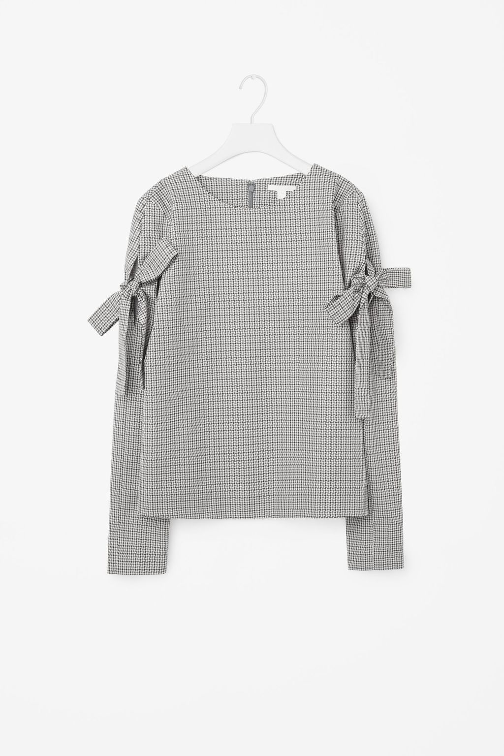 Houndstooth Check Top - neckline: round neck; pattern: checked/gingham; predominant colour: light grey; occasions: casual, creative work; length: standard; style: top; fibres: cotton - 100%; fit: straight cut; sleeve length: long sleeve; sleeve style: standard; pattern type: fabric; pattern size: standard; texture group: jersey - stretchy/drapey; season: a/w 2016; wardrobe: highlight; trends: statement sleeves