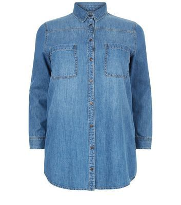 Curves Blue Long Sleeve Denim Shirt - neckline: shirt collar/peter pan/zip with opening; pattern: plain; style: shirt; predominant colour: denim; occasions: casual; length: standard; fibres: cotton - 100%; fit: body skimming; sleeve length: long sleeve; sleeve style: standard; texture group: denim; pattern type: fabric; wardrobe: basic; season: a/w 2016