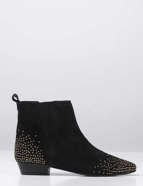 Mollie Boot Black Suede/Gold Studs Women, Black Suede/Gold Studs - secondary colour: gold; predominant colour: black; occasions: casual; material: suede; heel height: flat; embellishment: studs; heel: block; toe: pointed toe; boot length: ankle boot; style: standard; finish: plain; pattern: plain; season: a/w 2016; wardrobe: highlight