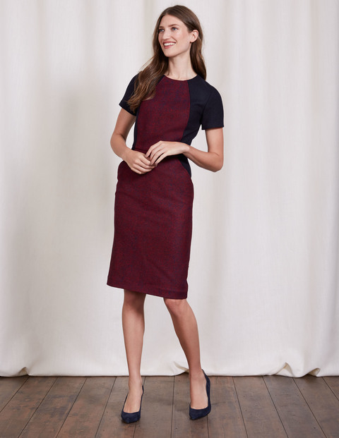 Imelda Dress Red Herringbone Women, Red Herringbone - style: shift; sleeve style: raglan; fit: tailored/fitted; pattern: plain; predominant colour: burgundy; secondary colour: black; occasions: evening; length: on the knee; fibres: wool - 100%; neckline: crew; sleeve length: short sleeve; pattern type: fabric; texture group: jersey - stretchy/drapey; multicoloured: multicoloured; season: a/w 2016; wardrobe: event