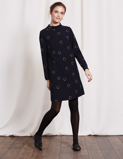 High Neck Dress Navy Halo Spot Women, Navy Halo Spot - style: shift; neckline: high neck; predominant colour: black; occasions: evening; length: just above the knee; fit: body skimming; fibres: polyester/polyamide - 100%; sleeve length: long sleeve; sleeve style: standard; pattern type: fabric; pattern: patterned/print; texture group: jersey - stretchy/drapey; season: a/w 2016