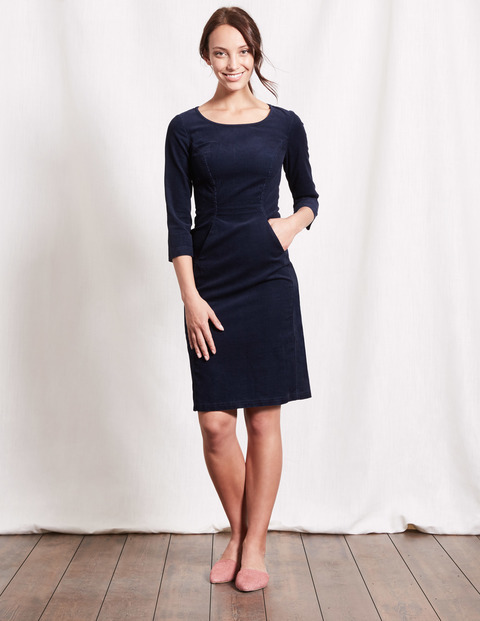 Hannah Seam Detail Dress Navy Women, Navy - style: shift; neckline: round neck; pattern: plain; predominant colour: navy; occasions: evening; length: just above the knee; fit: body skimming; fibres: cotton - stretch; sleeve length: 3/4 length; sleeve style: standard; pattern type: fabric; texture group: jersey - stretchy/drapey; season: a/w 2016; wardrobe: event