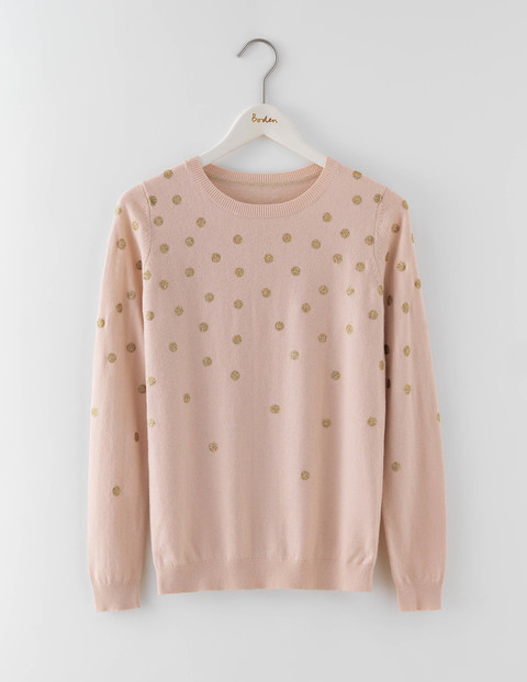Edwina Jumper Pink Pearl/Gold Spot Women, Pink Pearl/Gold Spot - pattern: polka dot; style: standard; predominant colour: ivory/cream; occasions: casual; length: standard; fibres: cotton - mix; fit: standard fit; neckline: crew; sleeve length: long sleeve; sleeve style: standard; texture group: knits/crochet; pattern type: fabric; season: a/w 2016; wardrobe: highlight