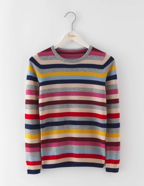 Cashmere Crew Neck Jumper Multi Stripe Women, Multi Stripe - pattern: horizontal stripes; style: standard; predominant colour: true red; secondary colour: light grey; occasions: casual; length: standard; fit: standard fit; neckline: crew; fibres: cashmere - 100%; sleeve length: long sleeve; sleeve style: standard; texture group: knits/crochet; pattern type: knitted - fine stitch; pattern size: standard; multicoloured: multicoloured; season: a/w 2016; wardrobe: highlight