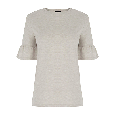 Flute Sleeve T Shirt, Beige - neckline: round neck; pattern: plain; style: t-shirt; predominant colour: ivory/cream; occasions: casual, work, creative work; length: standard; fibres: cotton - 100%; fit: body skimming; sleeve length: short sleeve; sleeve style: standard; pattern type: fabric; texture group: jersey - stretchy/drapey; wardrobe: basic; season: a/w 2016