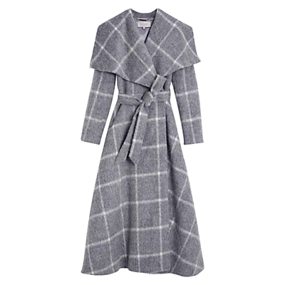 Rosemary Check Coat, Grey - pattern: checked/gingham; collar: wide lapels; fit: loose; style: wrap around; length: calf length; secondary colour: white; predominant colour: light grey; occasions: casual; fibres: wool - mix; waist detail: belted waist/tie at waist/drawstring; sleeve length: long sleeve; sleeve style: standard; collar break: medium; pattern type: fabric; texture group: woven bulky/heavy; multicoloured: multicoloured; season: a/w 2016; wardrobe: highlight