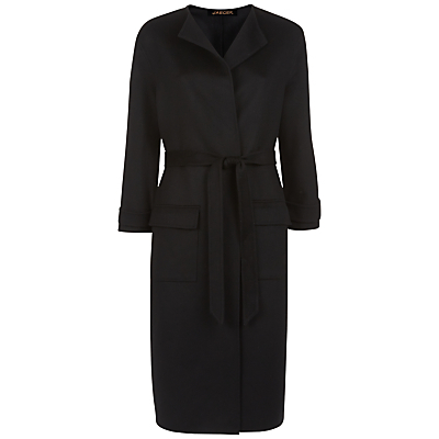 Double Faced Wool Pocket Coat, Black - pattern: plain; style: single breasted; length: on the knee; collar: standard lapel/rever collar; predominant colour: black; occasions: work; fit: tailored/fitted; fibres: wool - 100%; waist detail: belted waist/tie at waist/drawstring; sleeve length: long sleeve; sleeve style: standard; collar break: medium; pattern type: fabric; texture group: woven bulky/heavy; wardrobe: investment; season: a/w 2016