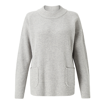 Pocket Jumper, Grey - pattern: plain; neckline: high neck; style: standard; predominant colour: light grey; occasions: casual, creative work; length: standard; fibres: wool - mix; fit: standard fit; sleeve length: long sleeve; sleeve style: standard; texture group: knits/crochet; pattern type: knitted - other; pattern size: standard; wardrobe: basic; season: a/w 2016; trends: chunky knits