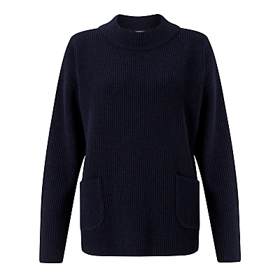 Pocket Jumper, Navy - pattern: plain; neckline: high neck; style: standard; predominant colour: navy; occasions: casual, creative work; length: standard; fibres: wool - mix; fit: standard fit; sleeve length: long sleeve; sleeve style: standard; texture group: knits/crochet; pattern type: knitted - other; wardrobe: basic; season: a/w 2016; trends: chunky knits