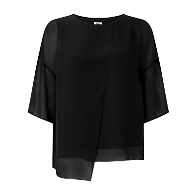 Folded Georgette Top, Black - neckline: round neck; pattern: plain; predominant colour: black; occasions: casual, creative work; length: standard; style: top; fibres: polyester/polyamide - 100%; fit: loose; sleeve length: half sleeve; sleeve style: standard; pattern type: fabric; texture group: other - light to midweight; wardrobe: basic; season: a/w 2016