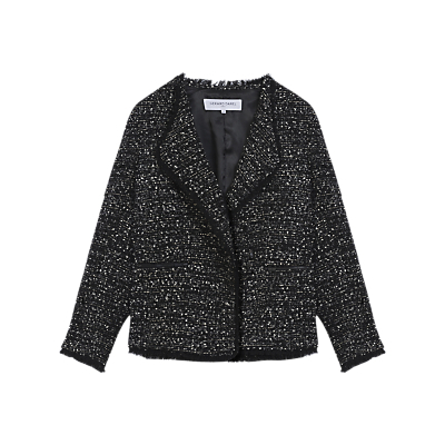 Alma Jacket, Black/White - style: single breasted blazer; collar: shawl/waterfall; pattern: herringbone/tweed; secondary colour: white; predominant colour: black; occasions: casual, work, creative work; length: standard; fit: tailored/fitted; fibres: acrylic - mix; sleeve length: 3/4 length; sleeve style: standard; collar break: medium; pattern type: fabric; pattern size: standard; texture group: woven light midweight; season: a/w 2016