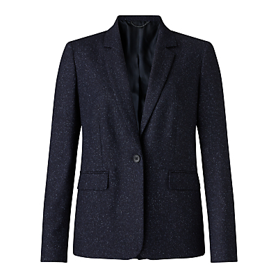 Flecked Tailoring London Jacket, Navy - style: single breasted blazer; collar: standard lapel/rever collar; predominant colour: navy; occasions: work; length: standard; fit: tailored/fitted; fibres: wool - mix; sleeve length: long sleeve; sleeve style: standard; collar break: medium; pattern type: fabric; pattern size: light/subtle; texture group: tweed - light/midweight; pattern: marl; season: a/w 2016