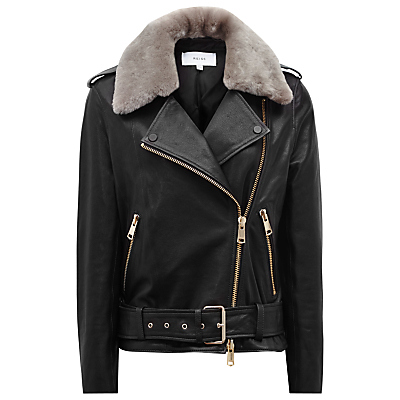 Dree Shearling And Leather Jacket, Black/Mink - pattern: plain; style: biker; collar: asymmetric biker; secondary colour: stone; predominant colour: black; occasions: casual, creative work; length: standard; fit: tailored/fitted; fibres: leather - 100%; sleeve length: long sleeve; sleeve style: standard; texture group: leather; collar break: medium; pattern type: fabric; embellishment: fur; wardrobe: basic; season: a/w 2016; embellishment location: neck