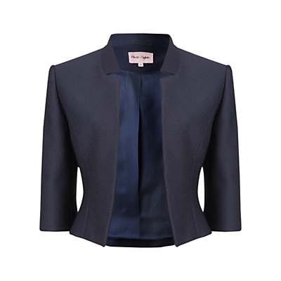 Valentine Jacket, Navy - pattern: plain; style: bolero/shrug; collar: round collar/collarless; predominant colour: navy; fit: tailored/fitted; fibres: polyester/polyamide - stretch; occasions: occasion; sleeve length: 3/4 length; sleeve style: standard; collar break: low/open; pattern type: fabric; texture group: woven light midweight; length: cropped; season: a/w 2016; wardrobe: event