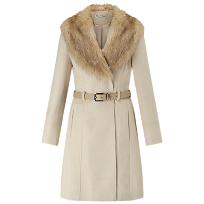 Fit And Flare Coat, Stone - pattern: plain; style: single breasted; length: mid thigh; predominant colour: stone; fit: tailored/fitted; fibres: polyester/polyamide - mix; waist detail: belted waist/tie at waist/drawstring; sleeve length: long sleeve; sleeve style: standard; collar: fur; collar break: medium; pattern type: fabric; texture group: woven bulky/heavy; embellishment: fur; occasions: creative work; season: a/w 2016