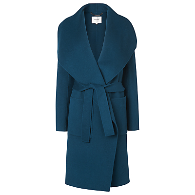 Fran Double Faced Coat - pattern: plain; collar: wide lapels; style: wrap around; length: mid thigh; predominant colour: teal; occasions: casual, creative work; fit: tailored/fitted; fibres: wool - 100%; waist detail: belted waist/tie at waist/drawstring; sleeve length: long sleeve; sleeve style: standard; collar break: low/open; pattern type: fabric; texture group: woven bulky/heavy; season: a/w 2016; wardrobe: highlight