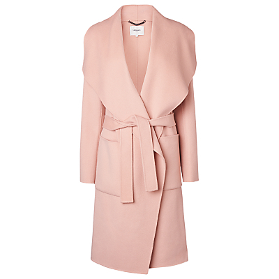 Fran Double Faced Coat - pattern: plain; collar: wide lapels; style: wrap around; length: mid thigh; predominant colour: blush; occasions: casual, creative work; fit: tailored/fitted; fibres: wool - 100%; waist detail: belted waist/tie at waist/drawstring; sleeve length: long sleeve; sleeve style: standard; collar break: low/open; pattern type: fabric; texture group: woven bulky/heavy; wardrobe: basic; season: a/w 2016