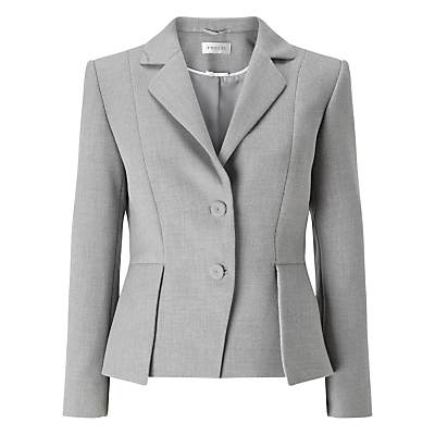 Eliza Tailored Jacket, Light Grey - pattern: plain; style: single breasted blazer; collar: standard lapel/rever collar; predominant colour: light grey; occasions: work; length: standard; fit: tailored/fitted; fibres: polyester/polyamide - stretch; sleeve length: long sleeve; sleeve style: standard; collar break: medium; pattern type: fabric; texture group: woven light midweight; wardrobe: investment; season: a/w 2016