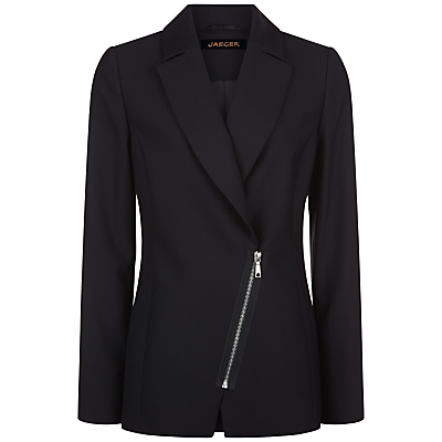 Wool Tailored Jacket, Black - pattern: plain; style: single breasted blazer; length: below the bottom; collar: standard lapel/rever collar; predominant colour: black; occasions: work; fit: tailored/fitted; fibres: wool - 100%; sleeve length: long sleeve; sleeve style: standard; collar break: medium; pattern type: fabric; texture group: woven bulky/heavy; season: a/w 2016; wardrobe: highlight