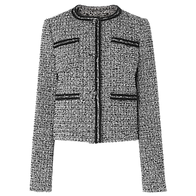 Astrala Tweed Tailored Jacket, Multi - collar: round collar/collarless; style: boxy; pattern: herringbone/tweed; secondary colour: white; predominant colour: black; occasions: work, occasion; length: standard; fit: straight cut (boxy); fibres: wool - mix; sleeve length: long sleeve; sleeve style: standard; collar break: high; pattern type: fabric; pattern size: standard; texture group: tweed - light/midweight; wardrobe: investment; season: a/w 2016