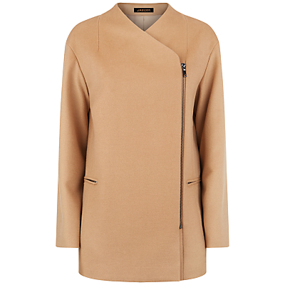 Wool Zip Detail Coat, Camel - pattern: plain; length: standard; collar: asymmetric biker; fit: slim fit; predominant colour: camel; occasions: casual; fibres: wool - 100%; sleeve length: long sleeve; sleeve style: standard; collar break: medium; pattern type: fabric; texture group: woven bulky/heavy; style: biker; wardrobe: basic; season: a/w 2016