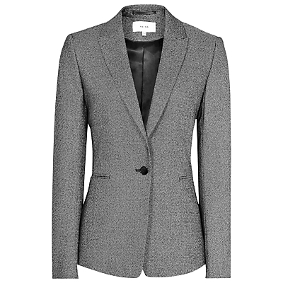 Salt And Pepper Gabrielle Jacket, Grey/Black - style: single breasted blazer; collar: standard lapel/rever collar; predominant colour: mid grey; secondary colour: black; occasions: work; length: standard; fit: tailored/fitted; fibres: wool - mix; waist detail: fitted waist; sleeve length: long sleeve; sleeve style: standard; collar break: medium; pattern type: fabric; pattern size: standard; texture group: woven light midweight; pattern: marl; wardrobe: investment; season: a/w 2016