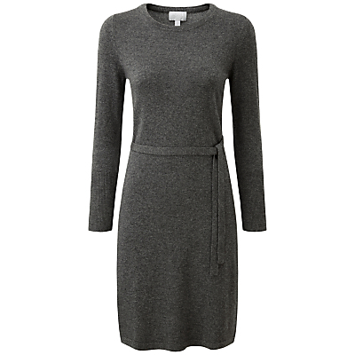 Delilah Cashmere Dress, Soft Charcoal - style: jumper dress; length: mid thigh; pattern: plain; predominant colour: charcoal; occasions: casual, creative work; fit: body skimming; fibres: wool - mix; neckline: crew; sleeve length: long sleeve; sleeve style: standard; texture group: knits/crochet; pattern type: knitted - fine stitch; wardrobe: basic; season: a/w 2016