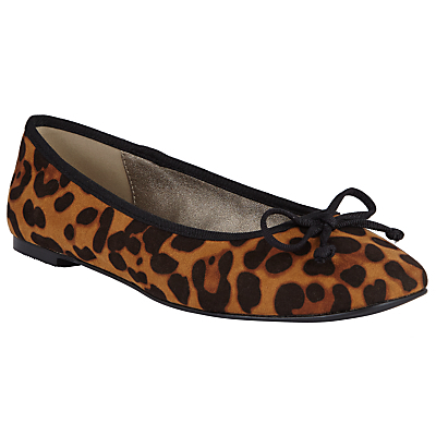 Square Toe Ballet Pumps, Leopard - predominant colour: tan; secondary colour: black; occasions: casual, creative work; heel height: flat; toe: round toe; style: ballerinas / pumps; finish: plain; pattern: animal print; embellishment: bow; material: faux suede; season: a/w 2016; wardrobe: highlight