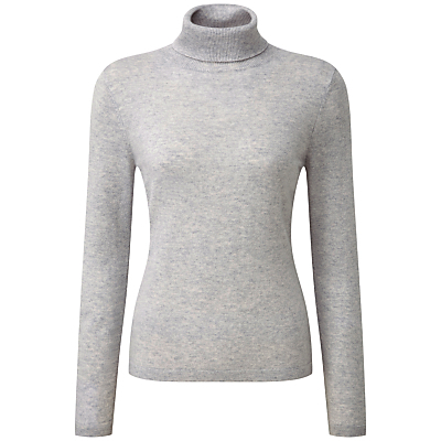 Riley Roll Neck Jumper, Iced Grey - pattern: plain; neckline: roll neck; style: standard; predominant colour: light grey; occasions: casual; length: standard; fit: tight; fibres: cashmere - 100%; sleeve length: long sleeve; sleeve style: standard; texture group: knits/crochet; pattern type: knitted - fine stitch; wardrobe: investment; season: a/w 2016