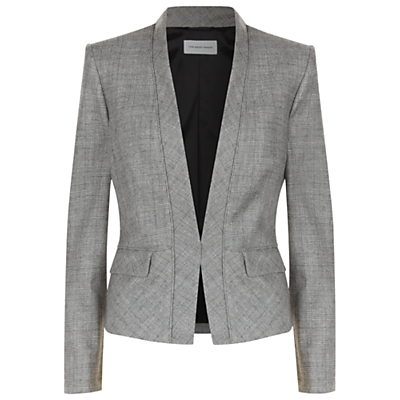 Check Asteroid Jacket, Grey - pattern: plain; style: single breasted blazer; collar: round collar/collarless; predominant colour: mid grey; occasions: work; length: standard; fit: tailored/fitted; fibres: polyester/polyamide - stretch; sleeve length: long sleeve; sleeve style: standard; collar break: medium; pattern type: fabric; texture group: woven light midweight; wardrobe: investment; season: a/w 2016