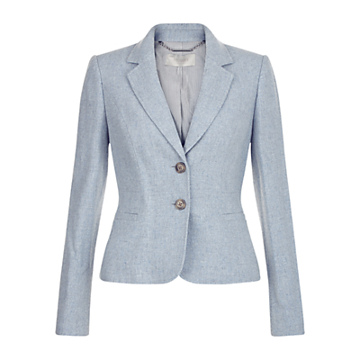 Dacia Maitilde Jacket, Light Blue - pattern: plain; style: single breasted blazer; collar: standard lapel/rever collar; predominant colour: pale blue; occasions: work, occasion; length: standard; fit: tailored/fitted; fibres: wool - mix; sleeve length: long sleeve; sleeve style: standard; collar break: medium; pattern type: fabric; texture group: woven light midweight; wardrobe: investment; season: a/w 2016