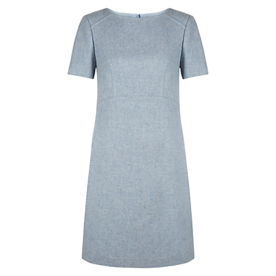 Dacia Pinafore Dress, Light Blue - style: a-line; length: mid thigh; fit: loose; predominant colour: pale blue; fibres: wool - mix; neckline: crew; sleeve length: short sleeve; sleeve style: standard; pattern type: fabric; pattern size: light/subtle; texture group: woven light midweight; occasions: creative work; pattern: marl; season: a/w 2016; wardrobe: highlight