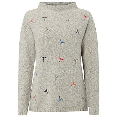 Dragonfly Embroidered Jumper, Bell Grey - neckline: high neck; style: standard; predominant colour: mid grey; occasions: casual, creative work; length: standard; fibres: cotton - mix; fit: standard fit; sleeve length: long sleeve; sleeve style: standard; texture group: knits/crochet; pattern type: knitted - other; pattern size: standard; pattern: patterned/print; multicoloured: multicoloured; season: a/w 2016; wardrobe: highlight; trends: chunky knits