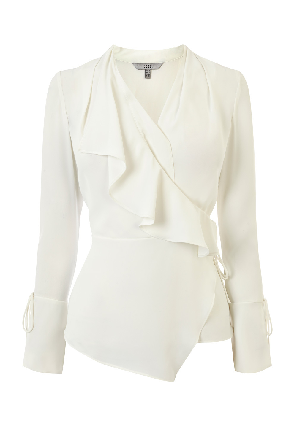 Sorrel Ruffle Blouse - neckline: v-neck; pattern: plain; style: blouse; predominant colour: white; occasions: evening; length: standard; fibres: polyester/polyamide - 100%; fit: body skimming; sleeve length: long sleeve; sleeve style: standard; texture group: sheer fabrics/chiffon/organza etc.; bust detail: bulky details at bust; pattern type: fabric; season: a/w 2016; wardrobe: event
