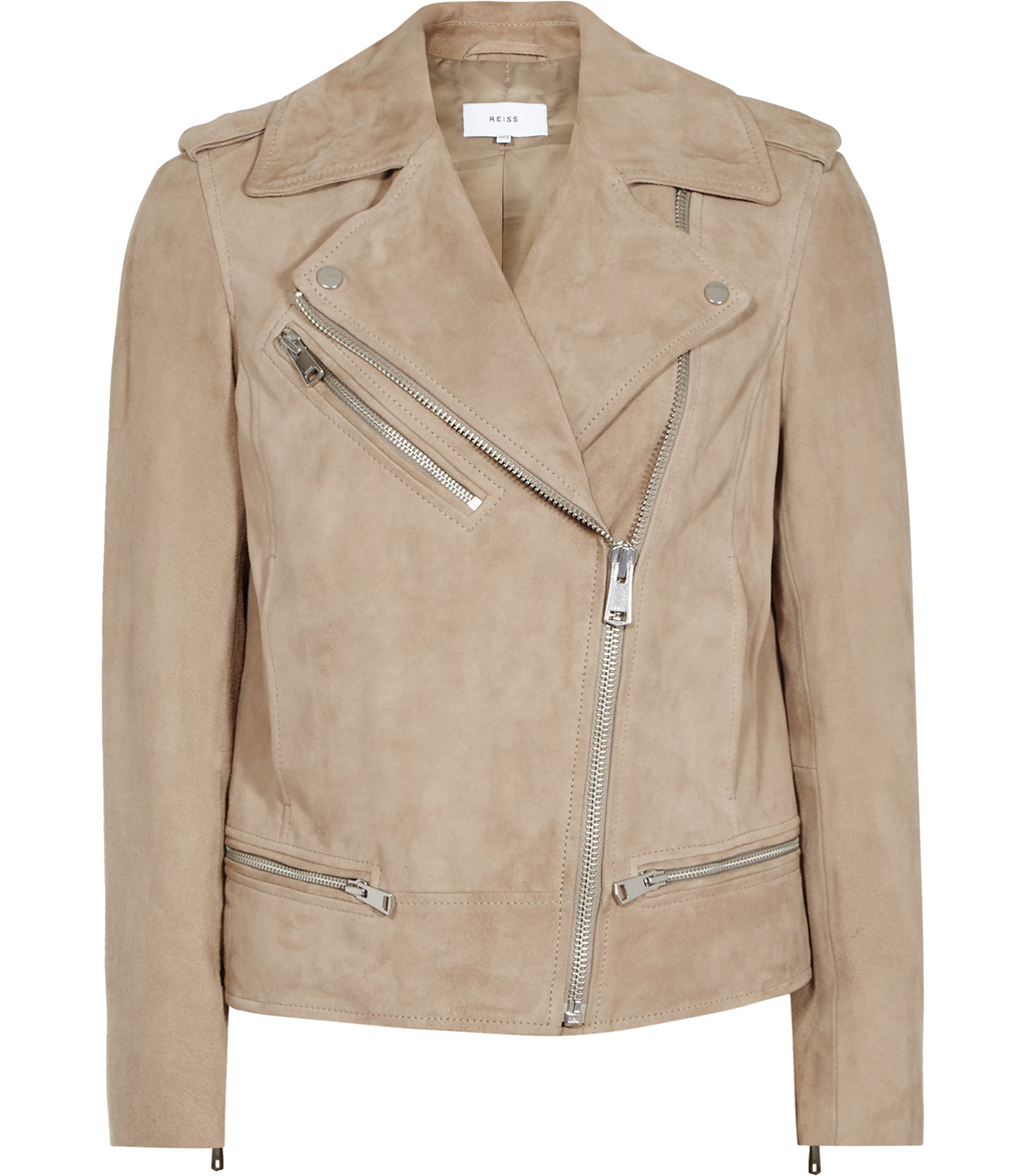 Daye Womens Suede Biker Jacket In White - pattern: plain; style: biker; collar: asymmetric biker; fit: slim fit; predominant colour: camel; occasions: casual, creative work; length: standard; fibres: leather - 100%; sleeve length: long sleeve; sleeve style: standard; collar break: medium; pattern type: fabric; texture group: suede; wardrobe: basic; season: a/w 2016