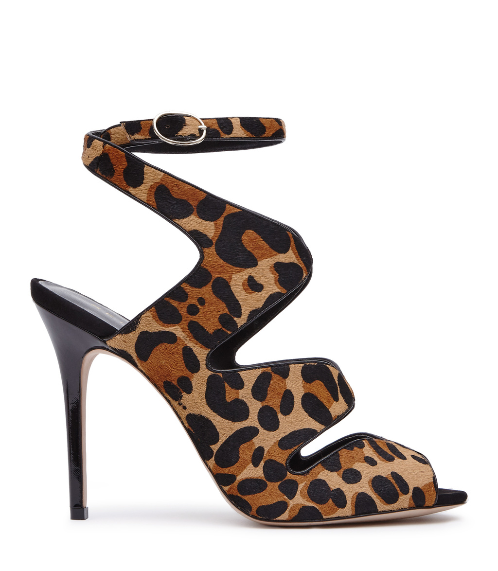 Monda Leopard Womens Leopard Print Sandals In Black - secondary colour: tan; predominant colour: camel; occasions: evening, occasion; material: leather; heel height: high; ankle detail: ankle strap; heel: stiletto; toe: open toe/peeptoe; style: standard; finish: plain; pattern: animal print; multicoloured: multicoloured; season: a/w 2016; wardrobe: event; trends: opulent prints