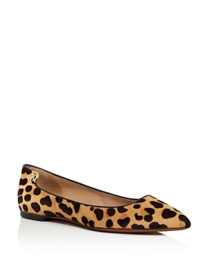 Elizabeth Leopard Print Calf Hair Pointed Toe Flats - predominant colour: black; occasions: casual, creative work; material: animal skin; heel height: flat; toe: pointed toe; style: ballerinas / pumps; finish: plain; pattern: animal print; season: a/w 2016; wardrobe: highlight