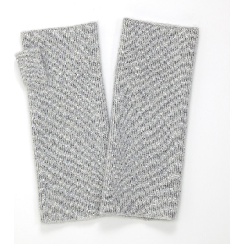 Essential Cashmere Wrist Warmers, Women's, Pale Grey Marl - predominant colour: light grey; occasions: casual; type of pattern: standard; style: fingerless; length: wrist; material: knits; pattern: plain; season: a/w 2016