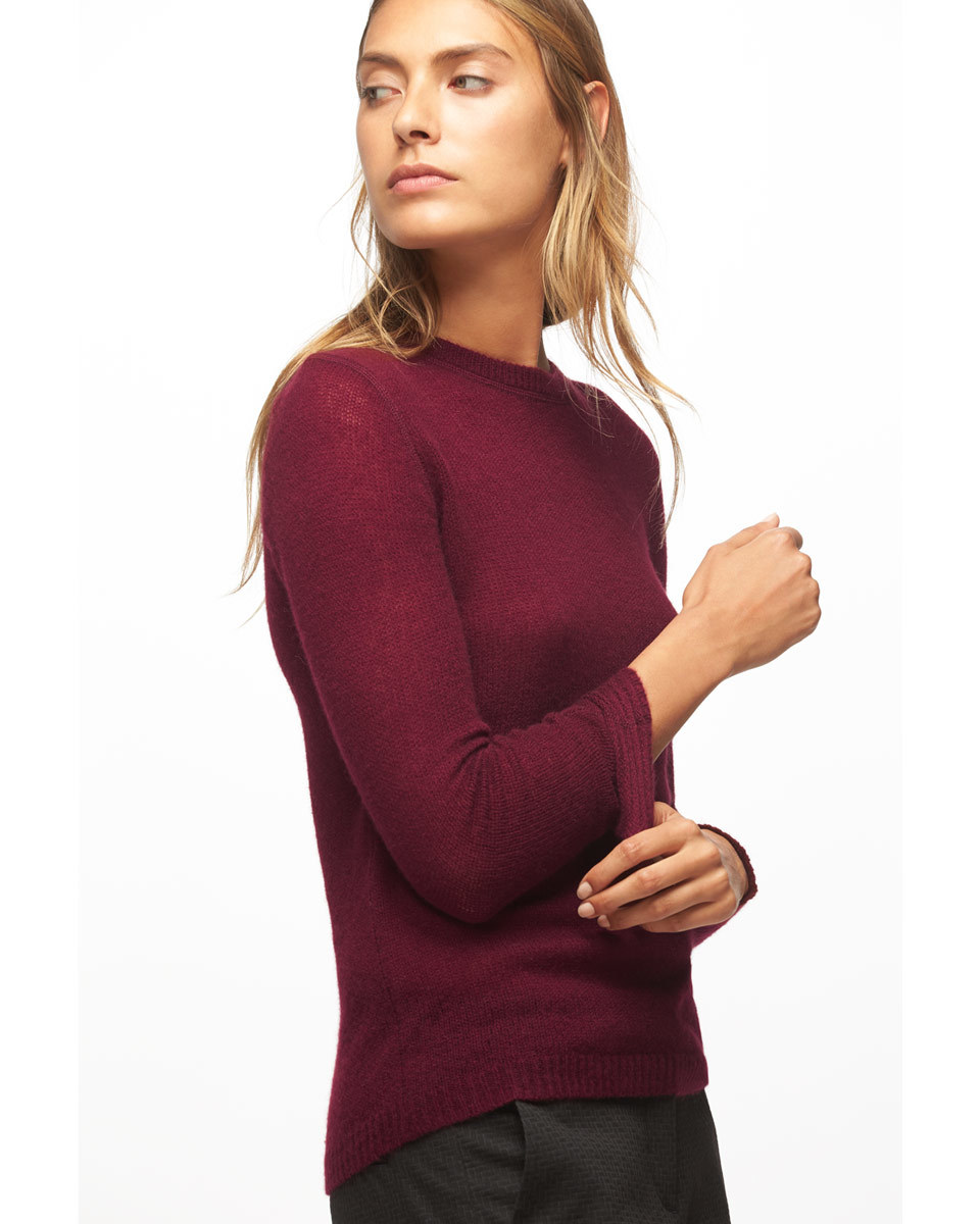 Cloud Cashmere Crew Neck Jumper - pattern: plain; predominant colour: burgundy; occasions: casual; length: standard; style: top; fit: body skimming; neckline: crew; fibres: cashmere - 100%; sleeve length: long sleeve; sleeve style: standard; texture group: knits/crochet; pattern type: knitted - fine stitch; season: a/w 2016; wardrobe: highlight